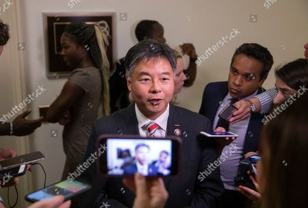 Democratic Representative from California Ted Lieu speaks to the news media as US President Donald J. Trump's former White House communications director and campaign spokeswoman Hope Hicks testifies in the closed door interview with the House Judiciary Committee on Capitol Hill in Washington, DC, USA, 19 June 2019. Hicks is the first senior Trump administration official named in the Mueller report to testify before Congress.