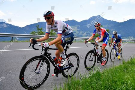 (L-R)  Matej Mohoric from Slovenia of Bahrain-Merica Pro Cycling Team, Stefan Kueng from Switzerland of Groupama-FDJ, and Fabien Grellier from France of Total Direct Energie in the breakaway  during the fifth stage of the 83rd Tour de Suisse UCI ProTour cycling race, over 177 km from Muenchenstein to Einsiedeln, Switzerland, 19 June 2019.