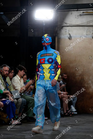 A model wears a creation for the Walter Van Beirendonck mens Spring-Summer 2020 fashion collection presented in Paris, Wednesday, June 19
