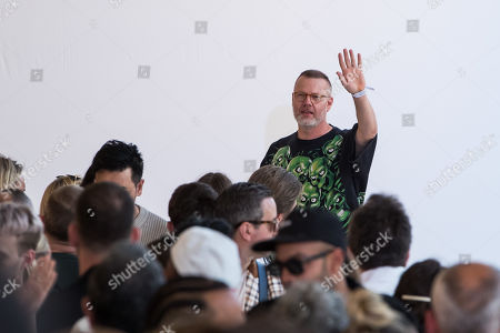 Swedish designer Jonny Johansson greets the audience after presenting the collection for Acne Studios fashion house during the Paris Fashion Week, in Paris, France, 19 June 2019. The presentation of the Spring/Summer 2020 menswear collections runs from 18 to 23 June.