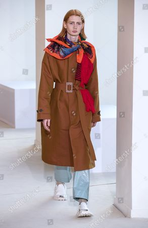 A model presents a creation by Swedish designer Jonny Johansson for Acne Studios fashion house during the Paris Fashion Week, in Paris, France, 19 June 2019. The presentation of the Spring/Summer 2020 menswear collections runs from 18 to 23 June.