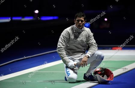 Aldo Montano of Italy during the men's sabre competition, round of 32, against Aron Szilagyi of Hungary at the 2019 Fencing European Championships in Duesseldorf, Germany, 19 June 2019.