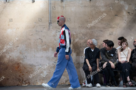 A model presents creations by Belgian designer Walter van Beirendonck during the Paris Fashion Week, in Paris, France, 19 June 2019. The presentation of the Spring/Summer 2020 menswear collections runs from 18 to 23 June.