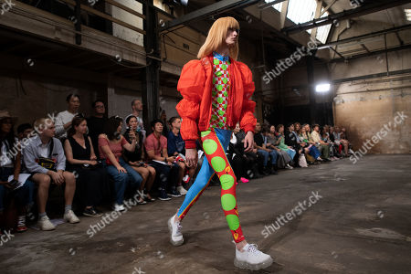 Stock Image of A model presents creations by Belgian designer Walter van Beirendonck during the Paris Fashion Week, in Paris, France, 19 June 2019. The presentation of the Spring/Summer 2020 menswear collections runs from 18 to 23 June.