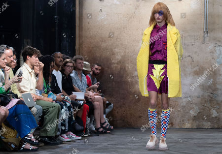 Stock Picture of A model presents creations by Belgian designer Walter van Beirendonck during the Paris Fashion Week, in Paris, France, 19 June 2019. The presentation of the Spring/Summer 2020 menswear collections runs from 18 to 23 June.