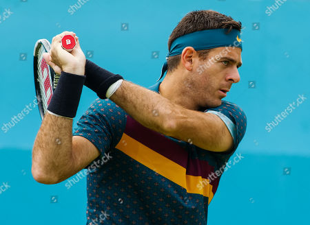 Juan Martin del Potro (ARG) practices during day three practice for the Fever-Tree Championships