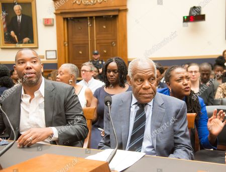 Ta-Nehisi Coates and Danny Glover arrive at The House Judiciary Subcommittee on the Constitution, Civil Rights, and Civil Liberties will hold a hearing on H.R. 40, the Commission to Study and Develop Reparation Proposals for African-Americans Act.