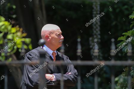 Judge Larry Fidler is seen in the park across the street from 1911 Pinehurst Road as jury members visit an evidence site during the murder trial of Michael Gargiulo in Los Angeles, California, USA, 19 June 2019. Gargiulo is charged in the stabbing deaths of two women, one of whom was about to go out with actor Ashton Kutcher that night, as well as attempting to kill a woman during a robbery at her Santa Monica home.