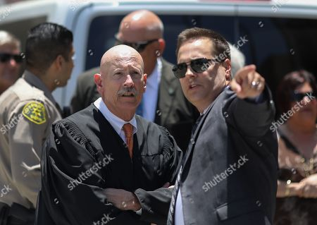 Judge Larry Fidler is seen as jury members visit an evidence site located at 1759 Orchard Avenue during the murder trial of Michael Gargiulo in Los Angeles, California, USA, 19 June 2019. Gargiulo is charged in the stabbing deaths of two women, one of whom was about to go out with actor Ashton Kutcher that night, as well as attempting to kill a woman during a robbery at her Santa Monica home.