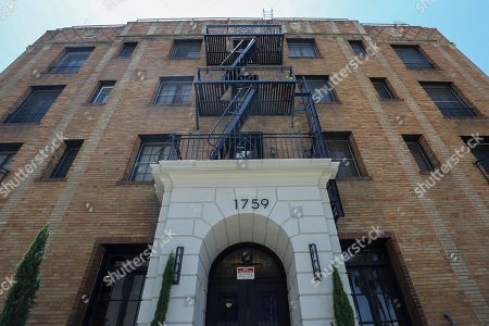 The apartment building at 1759 Orchard Avenue is seen as jury members visit an evidence site during the murder trial of Michael Gargiulo in Los Angeles, California, USA, 19 June 2019. Gargiulo is charged in the stabbing deaths of two women, one of whom was about to go out with actor Ashton Kutcher that night, as well as attempting to kill a woman during a robbery at her Santa Monica home.