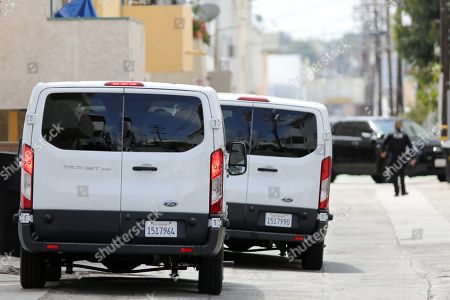 The vans of the Jury members are parked in front of an evidence site located at 1229 12th Street in Santa Monica for a visit during the murder trial of Michael Gargiulo in Los Angeles, California, USA, 19 June 2019. Gargiulo is charged in the stabbing deaths of two women, one of whom was about to go out with actor Ashton Kutcher that night, as well as attempting to kill a woman during a robbery at her Santa Monica home.