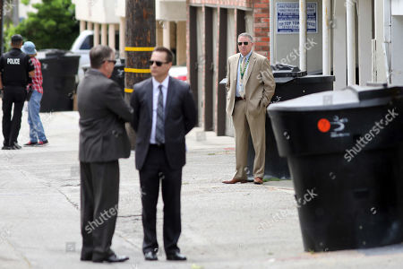Jury members visit an evidence site located at 1229 12th Street in Santa Monica during the murder trial of Michael Gargiulo in Los Angeles, California, USA, 19 June 2019. Gargiulo is charged in the stabbing deaths of two women, one of whom was about to go out with actor Ashton Kutcher that night, as well as attempting to kill a woman during a robbery at her Santa Monica home.