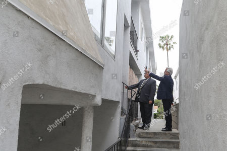 Michael Gargiulo's lawyers Dale Michael Rubin (L) and Daniel Nardoni attend a jury visit of an evidence site located at 1229 12th Street in Santa Monica during the murder trial of Michael Gargiulo in Los Angeles, California, USA, 19 June 2019. Gargiulo is charged in the stabbing deaths of two women, one of whom was about to go out with actor Ashton Kutcher that night, as well as attempting to kill a woman during a robbery at her Santa Monica home.
