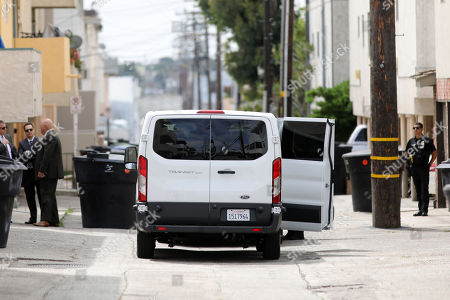 A van transporting the jury is parked next to an evidence site located at 1229 12th Street in Santa Monica during the murder trial of Michael Gargiulo in Los Angeles, California, USA, 19 June 2019. Gargiulo is charged in the stabbing deaths of two women, one of whom was about to go out with actor Ashton Kutcher that night, as well as attempting to kill a woman during a robbery at her Santa Monica home.