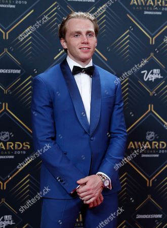 Patrick Kane of the Chicago Blackhawks poses on the red carpet before the NHL Awards, in Las Vegas