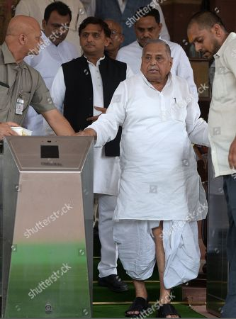 Samajwadi Party founder Mulayam Singh Yadav with his son and party president Akhilesh Yadav and party MPs during the first day of opening session of the 17th Lok Sabha at Parliament of India In Parliament Budget session, which began on June 17 and will conclude on July 26, the NDA government is set to push crucial legislations, including a bill that seeks to criminalise the practice of instant divorce among Muslims.