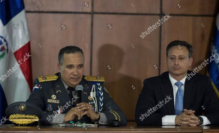 Director of the Dominican National Police Ney Aldrin Bautista Almonte (L) and Attorney General of the Dominican Republic Jean Alain Rodriguez (R) offers details about the attack against former MLB baseball player David Ortiz, in Santo Domingo, Dominican Republic, 19 June 2019. Officials announced that David Ortiz, former Red Sox player, was accidentally shot and was not the intended target of the shooting that occurred on 09 June.
