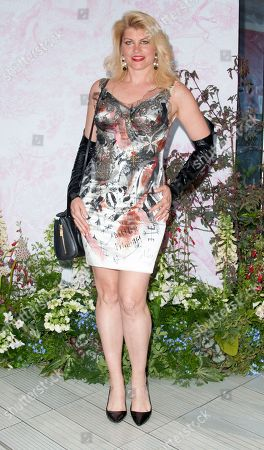 Meredith Ostrom, Seen arriving for the V&A Summer Party, at the Victoria and Albert Museum,