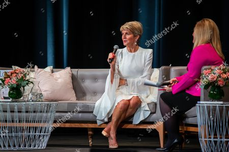 Former Australian foreign minister Julie Bishop (L) speaks during a Business Chicks Breakfast at the Adelaide Convention Centre in Adelaide, Australia, 20 June 2019.