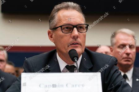 Captain Dan Carey of the Allied Pilots Association testifies to United States House of Representatives House Transportation subcommittee during a hearing on the Boeing 737 MAX