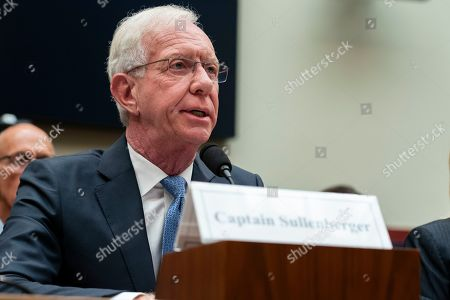 Captain Chesley Sullenberger testifies to United States House of Representatives House Transportation subcommittee during a hearing on the Boeing 737 MAX
