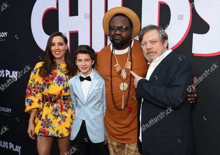 """Aubrey Plaza, Gabriel Bateman, Brian Tyree Henry, Mark Hamill. From left, Aubrey Plaza, Gabriel Bateman, Brian Tyree Henry and Mark Hamill, cast members in """"Child's Play,"""" pose together at the premiere of the film at the ArcLight Hollywood, in Los Angeles"""