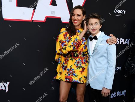 """Aubrey Plaza, Gabriel Bateman. Aubrey Plaza, left, and Gabriel Bateman, cast members in """"Child's Play,"""" pose together at the premiere of the film at the ArcLight Hollywood, in Los Angeles"""