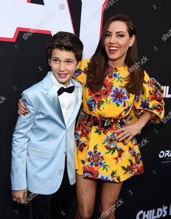 """Aubrey Plaza, Gabriel Bateman. Aubrey Plaza, right, and Gabriel Bateman, cast members in """"Child's Play,"""" pose together at the premiere of the film at the ArcLight Hollywood, in Los Angeles"""