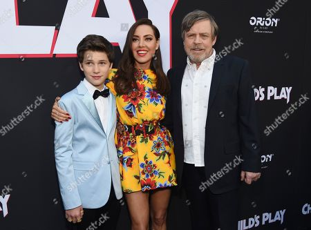 """Gabriel Bateman, Aubrey Plaza, Mark Hamill. From left, Gabriel Bateman, Aubrey Plaza and Mark Hamill, cast members in """"Child's Play,"""" pose together at the premiere of the film at the ArcLight Hollywood, in Los Angeles"""
