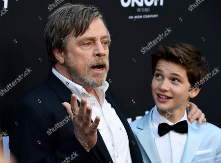 """Mark Hamill, Gabriel Bateman. Mark Hamill, left, and Gabriel Bateman, cast members in """"Child's Play,"""" pose together at the premiere of the film at the ArcLight Hollywood, in Los Angeles"""