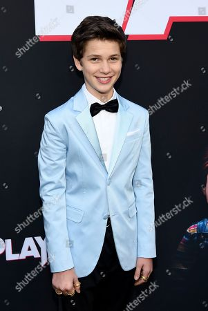 """Gabriel Bateman, a cast member in """"Child's Play,"""" poses at the premiere of the film at the ArcLight Hollywood, in Los Angeles"""