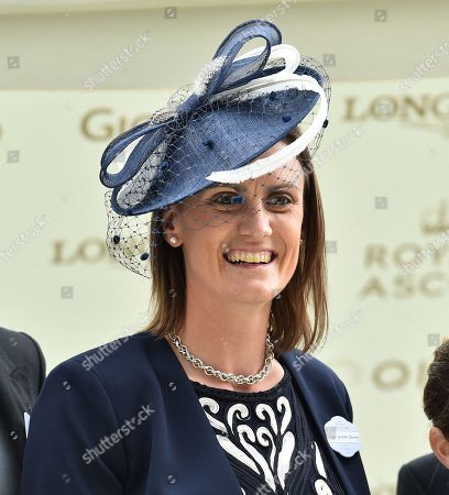 Stock Image of Major Heather Stanning, Olympic Gold winning rower, presents the trophies for The Sandringham Stakes.