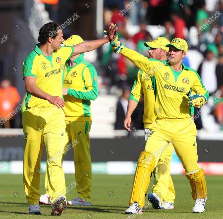 Nathan Coulter-Nile of Australia celebrates taking the wicket of Sabbir Rahman of Bangladesh