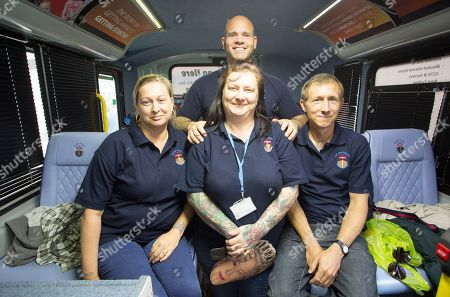 Editorial picture of The Ark Project A Homeless Charity Helping The Homeless By Offering Them A Bed The Bus Can Sleep Ten High Street Windsor. Pictured ( L-r) - Victoria Dowling Michael Longsmith(back) Sarah Willmott And Aaron Johnson.