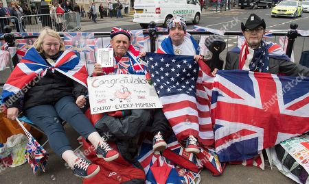 Royal Fans Maria Scott Terry Hutt John Loughrey And Sky London Sitting Out Ready For The Royal Wedding Of Prince Harry And Meghan On Saturday At Windsor Castle Windsor.