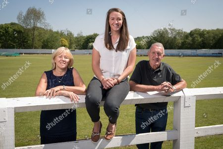 Kate Cross With Mum Christine And Dad David Cross At Heywood CC. Feature With Paul Newman. May 22th 2018 - Manchester UK. Kate Cross Cricket