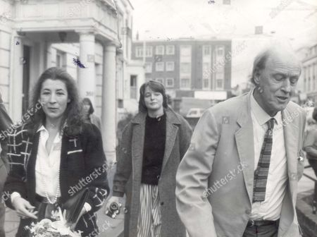 Roald Dahl and new wife Felicity Crosland and his daughter Ophelia Dahl in the background