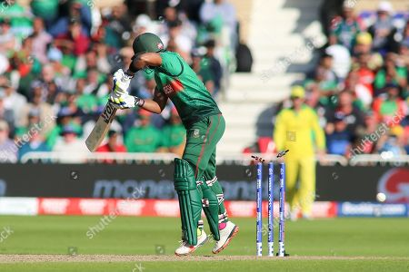 Sabbir Rahman of Bangladesh bowled Nathan Coulter-Nile of Australia during the ICC Cricket World Cup 2019 match between Australia and Bangladesh at Trent Bridge, West Bridgford