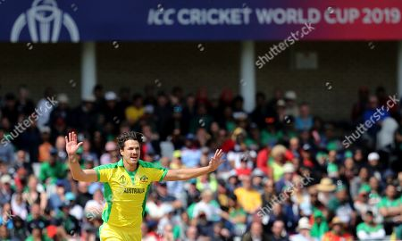 Australia's Nathan Coulter-Nile reacts after bowling a delivery during the Cricket World Cup match between Australia and Bangladesh at Trent Bridge in Nottingham