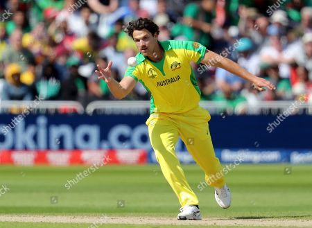 Australia's Nathan Coulter-Nile runs to field the ball after bowling a delivery during the Cricket World Cup match between Australia and Bangladesh at Trent Bridge in Nottingham