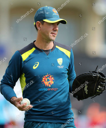 Australia's assistant coach Ricky Ponting warms up before the Cricket World Cup match between Australia and Bangladesh at Trent Bridge in Nottingham
