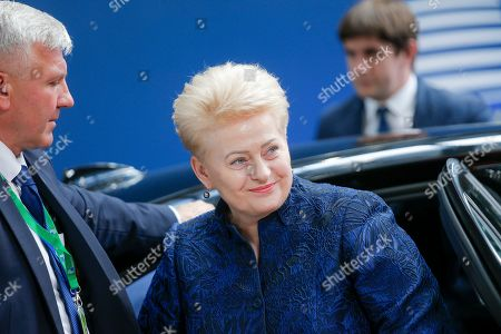 President of Lithuania Dalia Grybauskaite arrives for a European Council Summit in Brussels, Belgium, 20 June 2019. European leaders are meeting in Brussels on 20 and 21 June to discuss new leadership posts for the EU's next institutional cycle and adopt the bloc's strategic agenda for 2019-2024; they will also focus on climate, disinformation, long-term EU budget and external relations.
