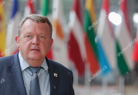 Stock Image of Denmark's Prime Minister Lars Loekke Rasmussen arrives for a European Council Summit in Brussels, Belgium, 20 June 2019. European leaders are meeting in Brussels on 20 and 21 June to discuss new leadership posts for the EU's next institutional cycle and adopt the bloc's strategic agenda for 2019-2024; they will also focus on climate, disinformation, long-term EU budget and external relations.