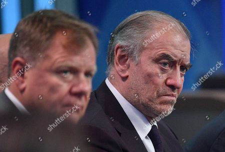 Russian conductor Valery Gergiev (R) attends an annual Question and Answer live-broadcast nationwide television and radio session 'Direct Line with Vladimir Putin' at the Gostiny Dvor studio in Moscow, Russia, 20 June 2019. During the broadcast President Vladimir Putin directly answers questions from Russia's citizens.