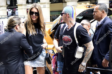 Colombian singer J Balvin (R) and his girlfriend Argentine model Valentina Ferrer (L) arrive for the show of Amiri during the Paris Fashion Week, in Paris, France, 20 June 2019. The presentation of the Spring/Summer 2020 menswear collections runs from 18 to 23 June.