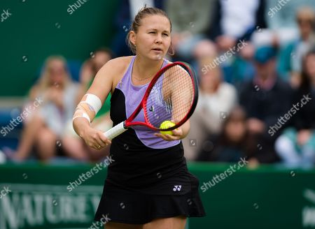 Evgeniya Rodina of Russia in action during her second-round match