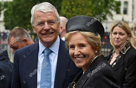 Former British prime minister John Major (L) and his wife Lady Norma Major (R) leave after a service of thanksgiving for the life and work of former Cabinet Secretary Lord Heywood in the Westminster Abbey in central London, Britain, 20 June 2019. Jeremy Heywood served as British Cabinet Secretary from 01 January 2012, and Head of the Home Civil Service from September 2014, until stepping down in October 2018.