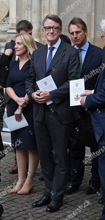 Stock Photo of Labour politician Peter Mandelson leaves after a service of thanksgiving for the life and work of former Cabinet Secretary Lord Heywood in the Westminster Abbey in central London, Britain, 20 June 2019. Jeremy Heywood served as British Cabinet Secretary from 01 January 2012, and Head of the Home Civil Service from September 2014, until stepping down in October 2018.