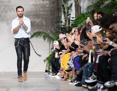 US designer Mike Amiri appears on the catwalk after the presentation of his Spring/Summer 2020 Men's collection for his label Amiri during the Paris Fashion Week, in Paris, France, 20 June 2019. The presentation of the Spring/Summer 2020 menswear collections runs from 18 to 23 June 2019.