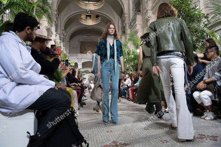 Models present creations from the Spring/Summer 2020 Men's collection by US designer Mike Amiri for his label Amiri during the Paris Fashion Week, in Paris, France, 20 June 2019. The presentation of the Spring/Summer 2020 menswear collections runs from 18 to 23 June 2019.